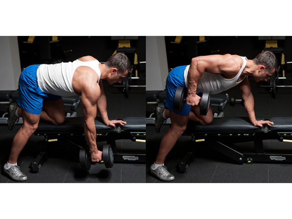 Dumbbell row with bench